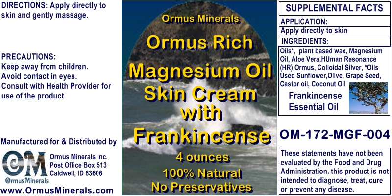 Ormus Minerals Ormus Rich Magnesium Oil Skin Cream with Frankincense